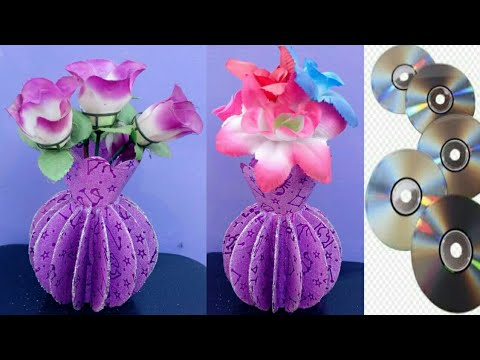 How to make A Flower Vase At Home    Easy Craft idea With CD/DVD    Best Out of Waste idea
