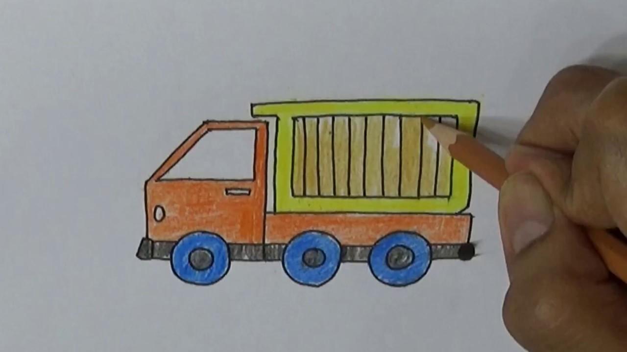 Belajar cara menggambar kartun dengan pensil CARA MENGGAMBAR DUMP TRUK