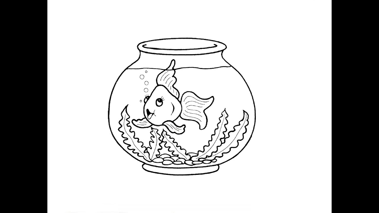 Fish tank drawing pictures - How To Draw An Aquarium
