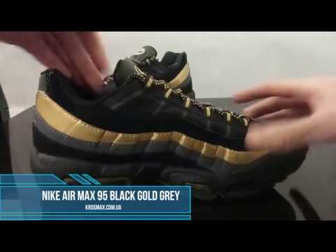 san francisco 4443a b69d8 Живой видео обзор Nike Air Max 95 Black Gold Grey (реплика)