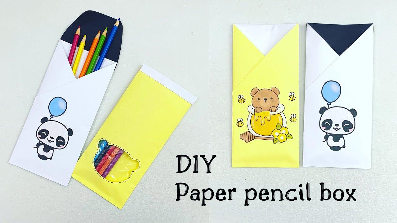 How to make a paper pencil box | DIY paper pencil box idea /Easy Origami box tutorial / Origami
