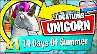 SEARCH UNICORN FLOATIES AT SWIMMING HOLES *ALL LOCATIONS* (Fortnite 14 Days Of Summer Day 6 REWARDS)
