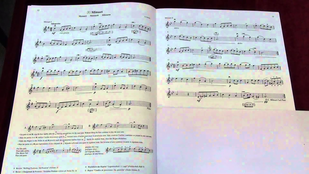 minuetbach - suzuki violin book 3 - music sheet and play along
