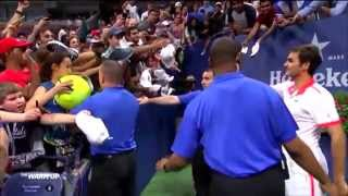 Roger Federer saves kid from getting crushed by crowd @ US Open 2015