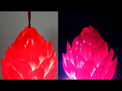 DIY Diwali/Christmas Home Decoration Ideas:How to Decorate Night Lamp from Waste Plastic Spoons Easy