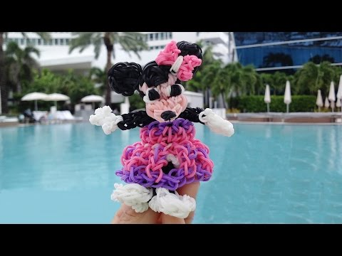 Rainbow Loom Minnie Mouse 3D Dress Up Doll made with Loom Bands