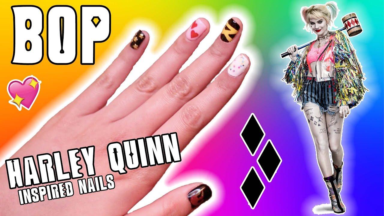 Bop Harley Quinn Inspired Nail Tutorial Easy Diy Nail Art Youtube