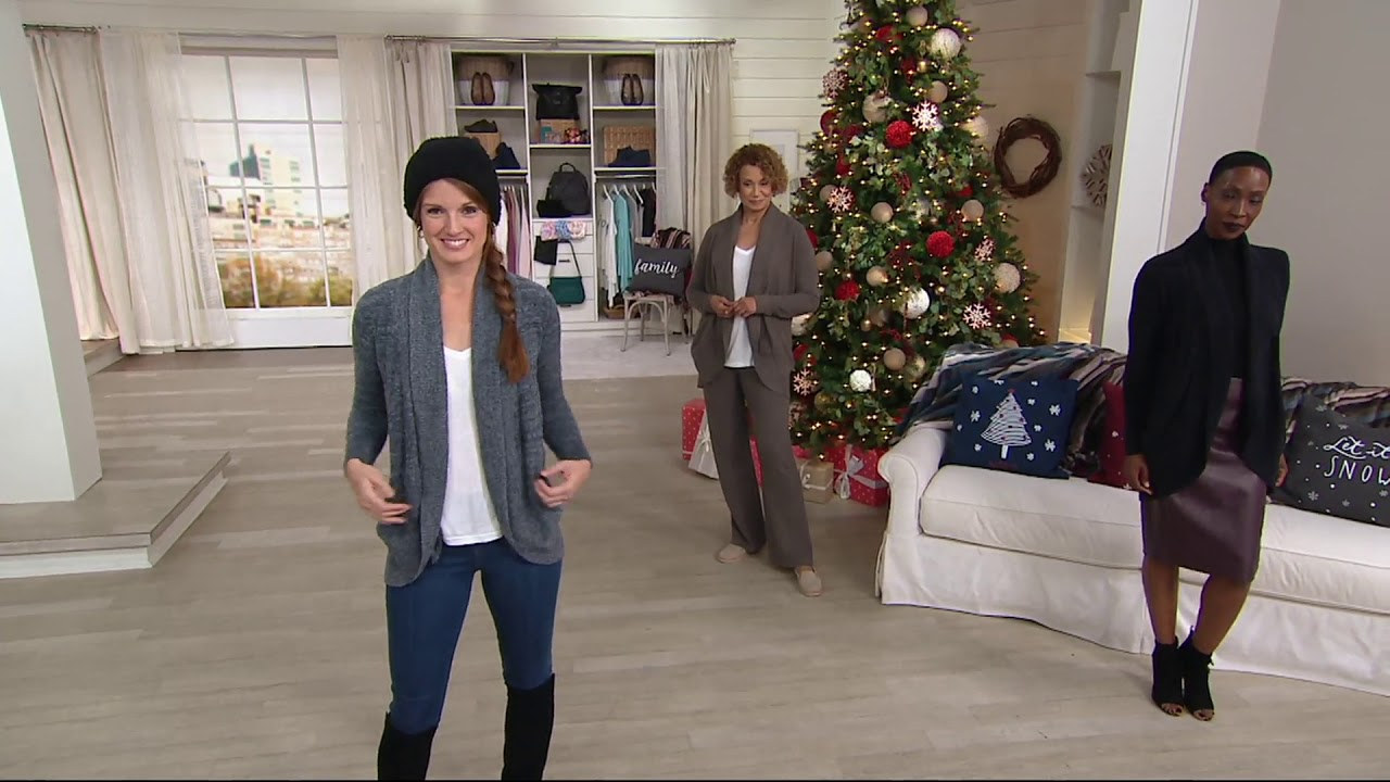15297510041 Barefoot Dreams Cozychic Lite Circle Cardi with Pockets on QVC
