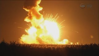The Antares rocket exploding at liftoff