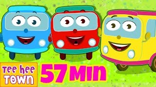 Wheels On The Bus Go Round And Round | Learn Colors | Popular Nursery Rhymes by Teehee Town