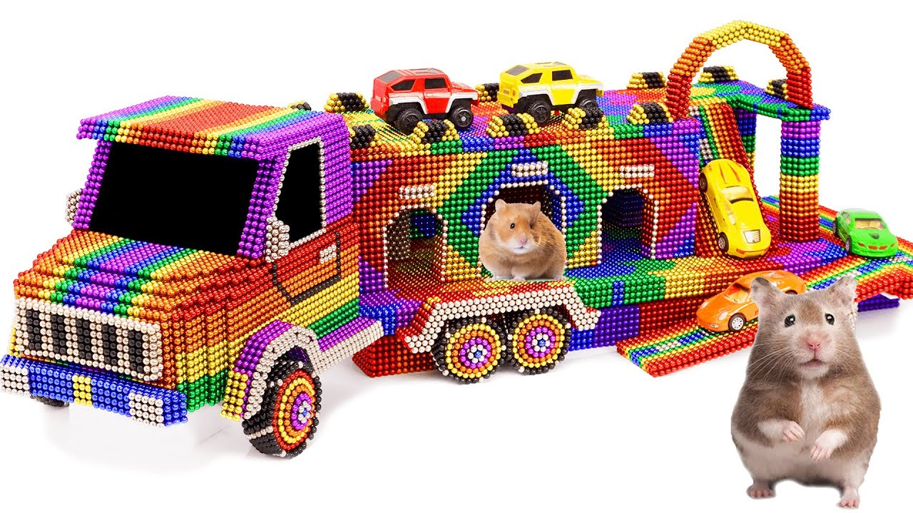 Satisfying Video   How To Make Playground Parking Car Hamster With Magnetic Balls   ASMR