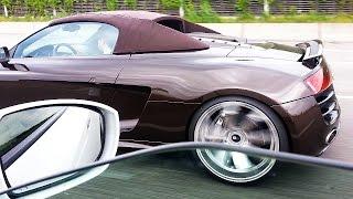 Audi R8 V10 Spyder vs Nissan GTR - Fast Autobahn Race with awesome ...