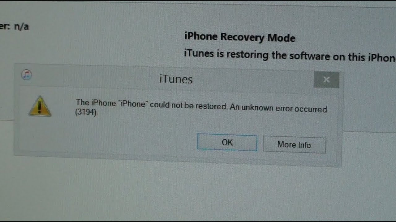iphone could not be restored error 3194 fixed error iphone could not be restored an unknown 5660