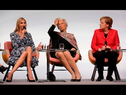 Ivanka Trump defends her father's relationship with women during a panel with Angela Merkel