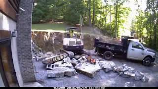 Retaining Wall Time Lapse - Verti-Block Install Hustonville, Ky (gas line explosion)