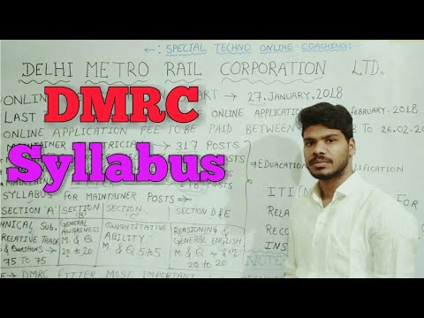 DMRC Syllabus 2018|| Delhi Metro Rail Corporation LTD.