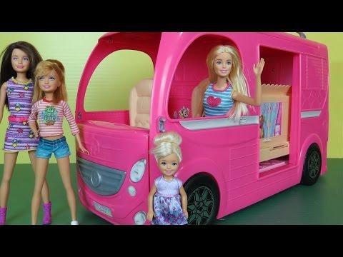CAMPER ! Built-In POOL PLAY- Picnic Hammock- Barbie Chelsea Stacie Skipper Outdoors RV Fun Adventure