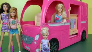 CAMPER! Built-In POOL PLAY- Picnic- Hammock- Barbie Chelsea Stacie Skipper Outdoors RV Fun Adventure(This toys dolls parody video shows BARBIE and her sisters taking a TRIP in a beautiful multi purpose Recreational Vehicle! They go to a beautiful Camping Park ..., 2016-06-11T16:52:34.000Z)