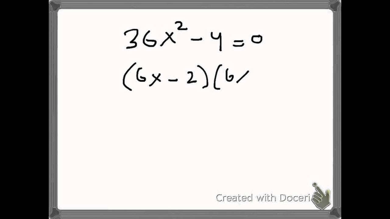 How To Solve A Quadratic Equation Using Difference Of