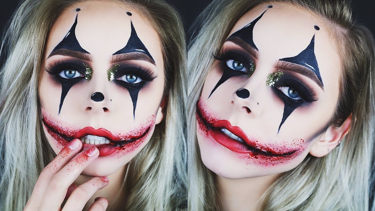 creepy glamorous clown halloween makeup youtube. Black Bedroom Furniture Sets. Home Design Ideas