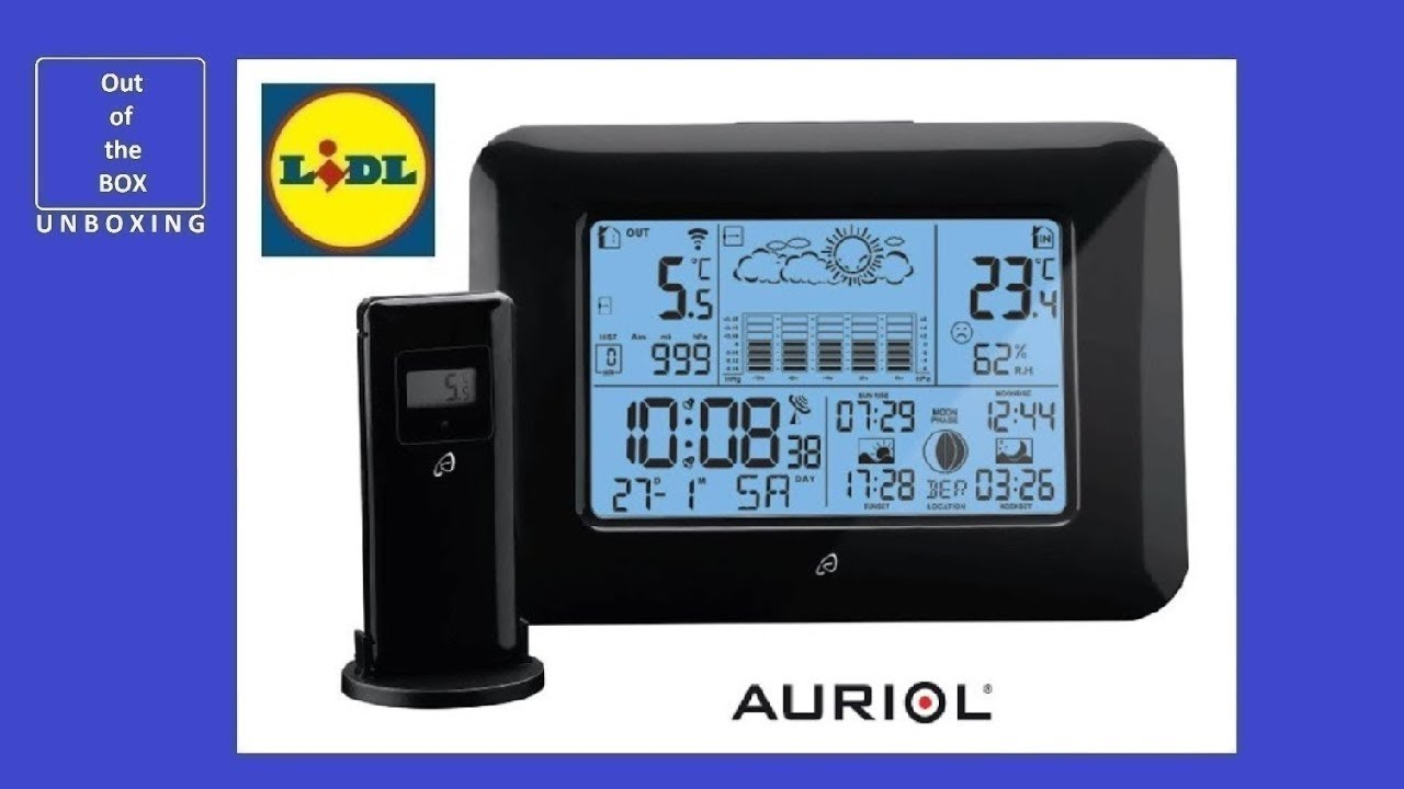 auriol radio controlled weather station unboxing lidl 20 50 c 100 m 2 x 1 5 v aaa youtube. Black Bedroom Furniture Sets. Home Design Ideas