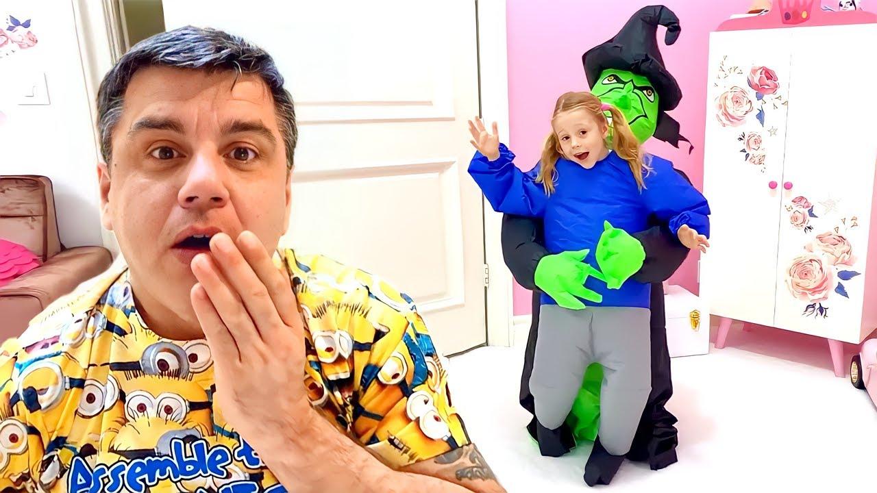 Nastya ve Baba, çocuklar için kostümlerle eğlenceli bir hıçkırık hikayesi
