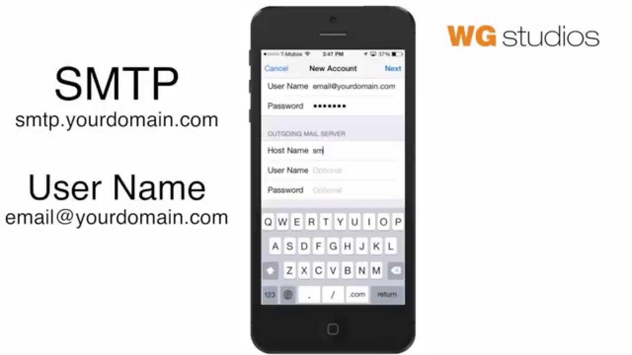 Basic email imap configuration iOS iPhone mail