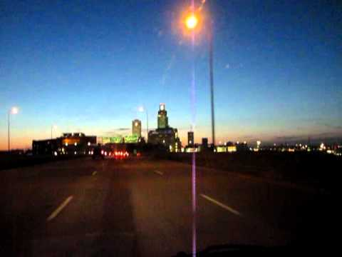 Driving into Downtown Omaha