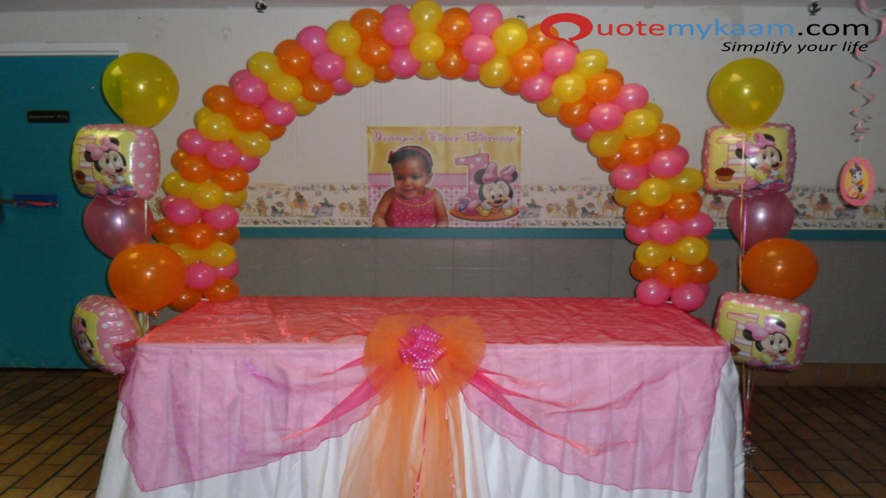 Baby girl 1st birthday decoration ideas youtube for Baby girl 1st birthday party decoration ideas