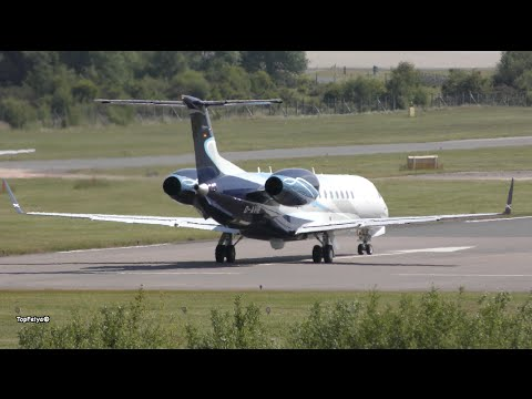 Aircraft Embraer Legacy 600 (D AVIB) takeoff Farnborough Airport London
