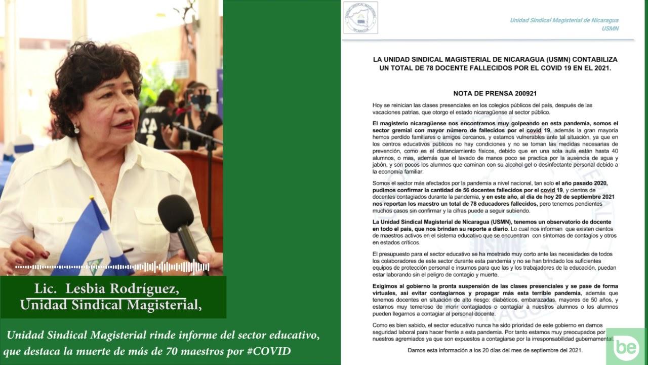 Más de 70 docentes han muerto por COVID-19 en Nicaragua
