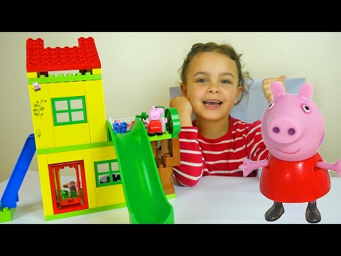 Thumbnail: Peppa Pig Toy House Building Sets with Kinder Surprise Eggs and Play Doh Peppa Dough