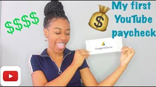 MY F RST YOUTUBE PAYCHECK  HOW TO HAVE A SUCCESSFUL CHANNEL  N 2020