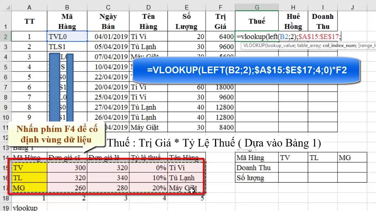 Kỹ năng Công nghệ thông tin cơ bản:Bài Excel 11-Hàm Vlookup-SumIF- Biểu đồ (Chart)-Trích lọc(Filter)
