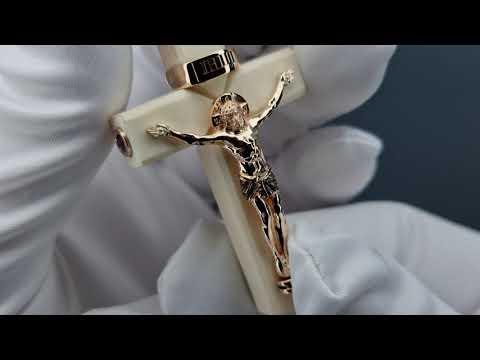 Авторская работа , Крест из кости и инкрустация золотом ,камни Александриты .