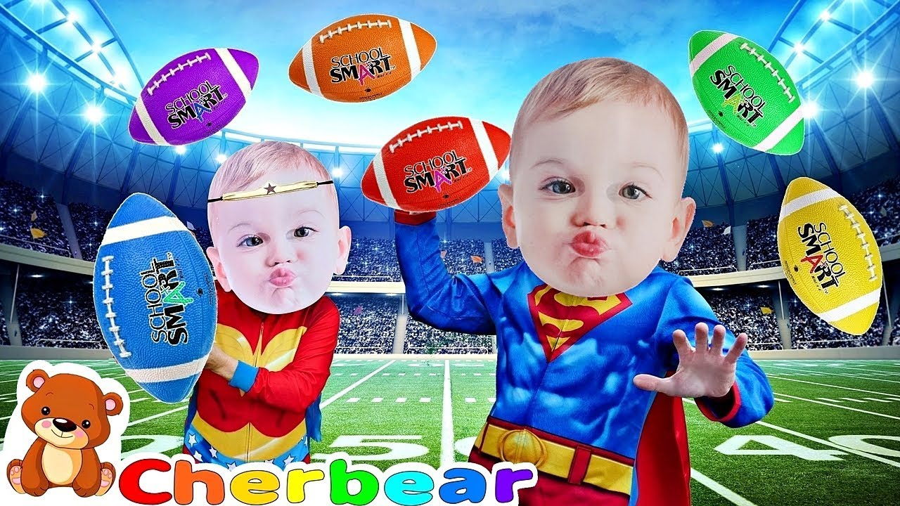 FOOTBALL Learn Colors with Colored Footballs Kids Songs with Superhero Babies COLOR SONG