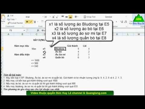 Cách giải bài toán tối ưu trong Excel dùng Solver