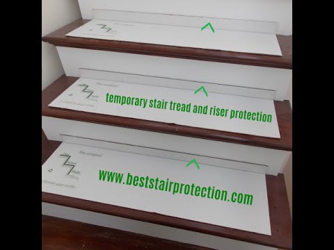 Perfect Temporary Stair Protection Pads Help Great Dane Climb Hardwood Staircase.