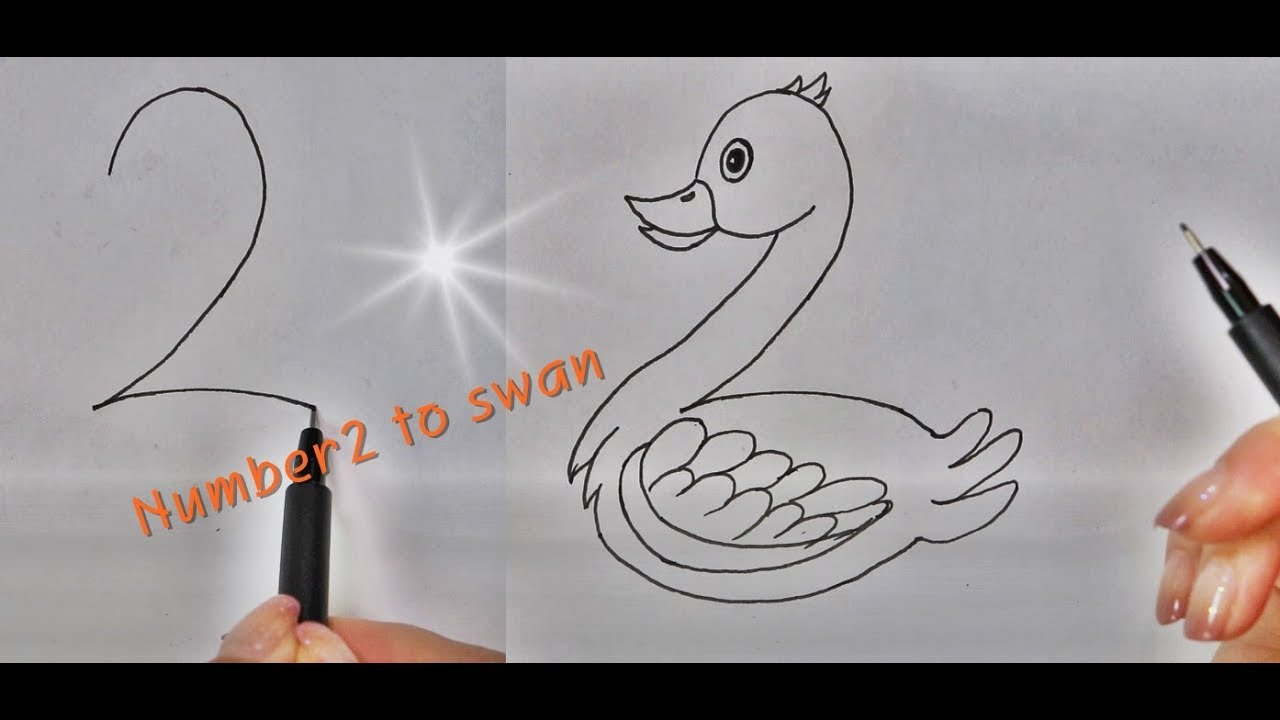 How To Draw A Swan Cartoon With Number 2 Easy Drawing Youtube