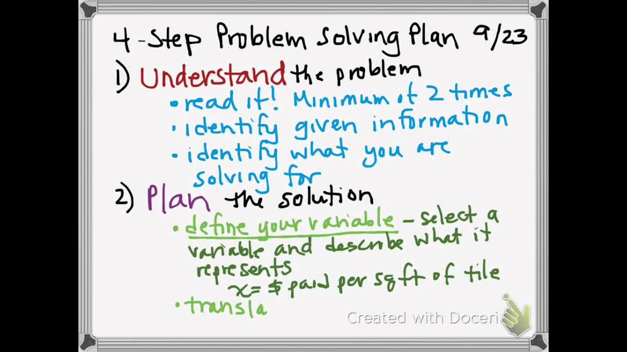math a step problem solving plan math 8a 4 step problem solving plan