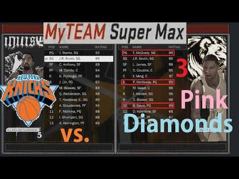 NBA 2K18 MyTeam All-Time New York Knicks Lineup vs. 3 Pink Diamond Cards