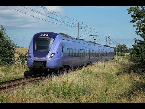 ESE082536 Pågatåg electric train in Sweden, Triebzug Alstom Coradia Skåne pendeltåg Simrishamn Malmö