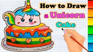 How to Draw a Unicorn Cake easy & coloring for kids
