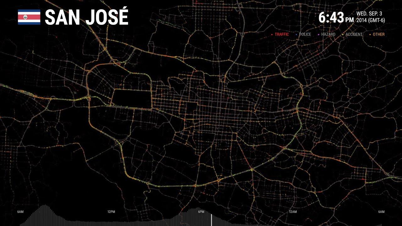 Data Visualization - San José: One Day on Waze   Waze
