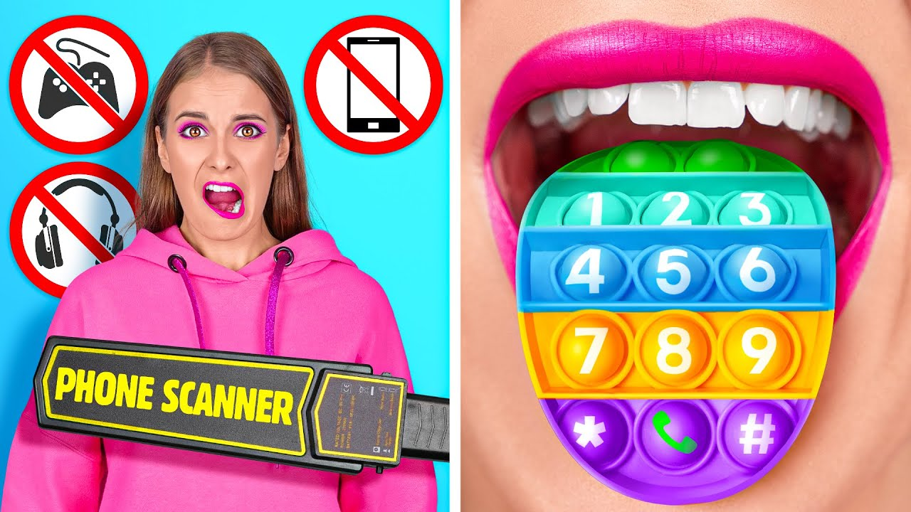 FUN WAYS TO SNEAK GADGETS INTO CLASS || Cool School Pranks And Hacks By 123 GO! GOLD[