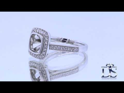 18kt White Gold Diamond Setting Pave Set With A Halo Total 0.45ct KR08664XD200-1