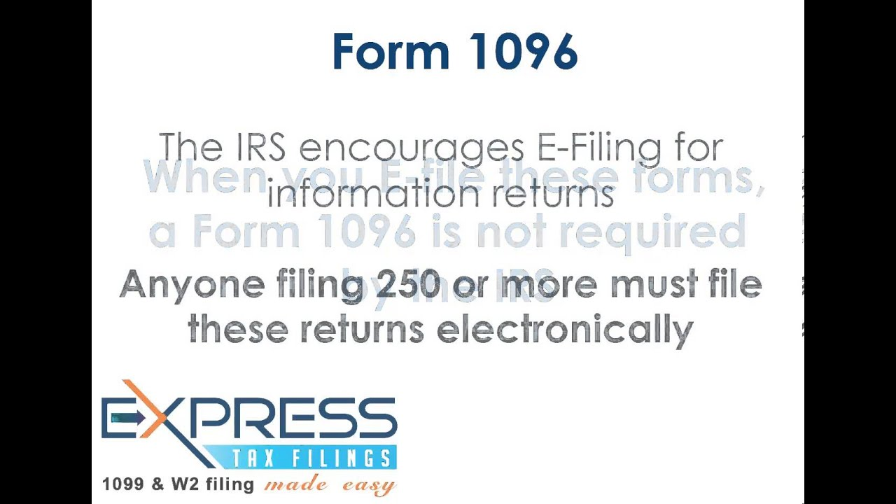IRS Form 1096 - YouTube