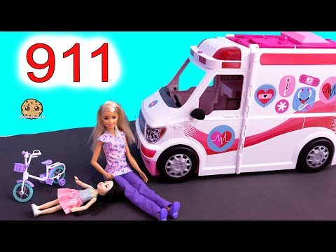 911 Call ! Barbie Ambulance Care Clinic Car ! Cookie Swirl C Video