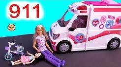 911 Call ! Barbie Ambulance Care Clinic Car ! Cookie Swirl C Video