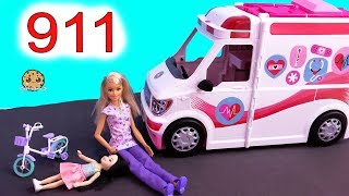 911 Call ! Barbie Ambulance Care Clinic Car ! Cookie Swirl C